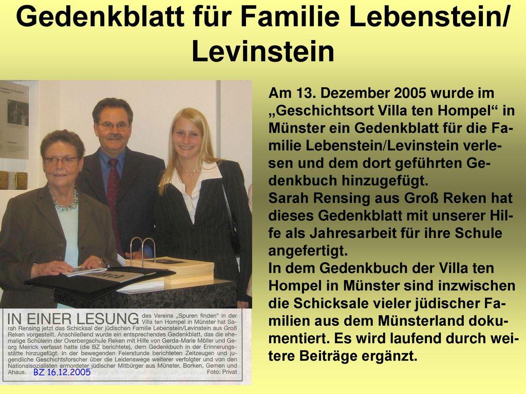 Gedenkblatt für Familie Lebenstein/ Levinstein