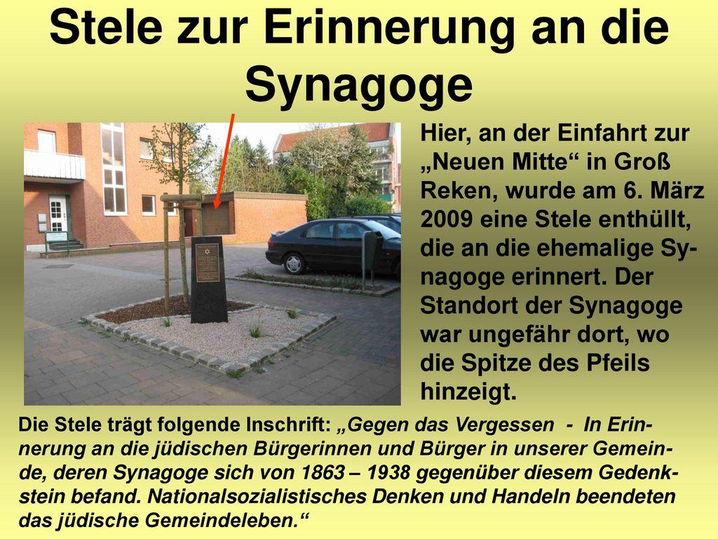 Stele zur Erinnerung an die Synagoge
