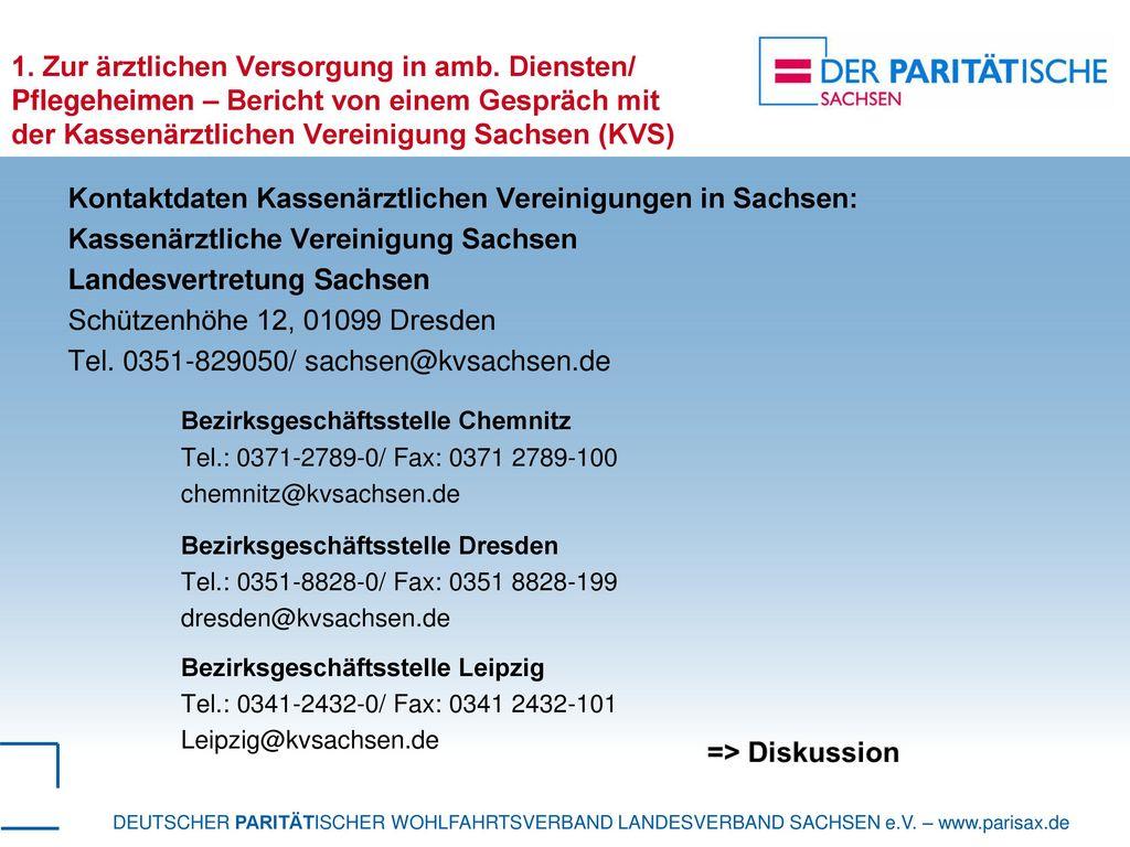 Kontaktdaten Kassenärztlichen Vereinigungen in Sachsen: