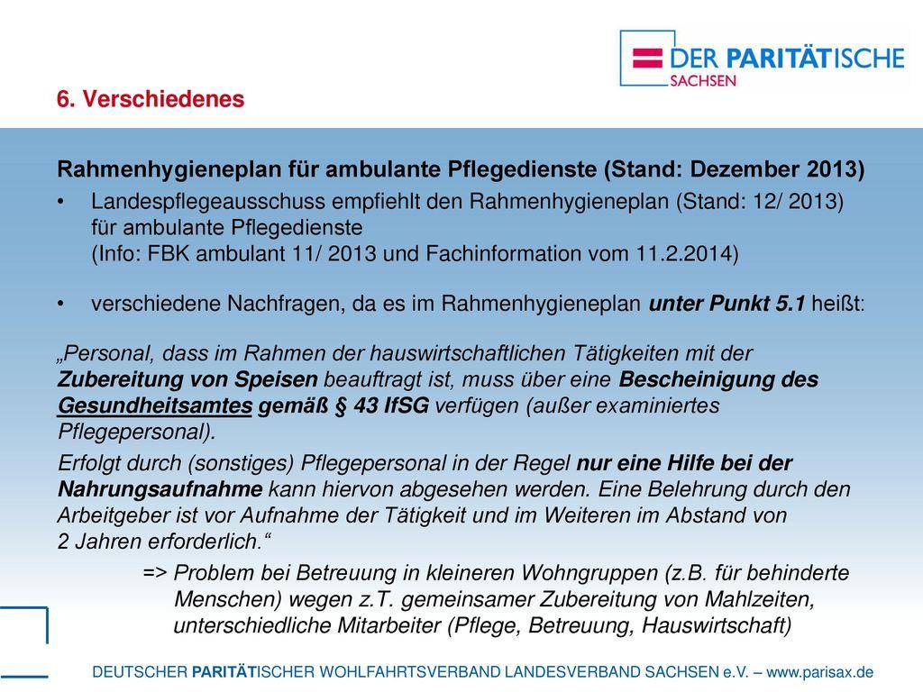 Rahmenhygieneplan für ambulante Pflegedienste (Stand: Dezember 2013)