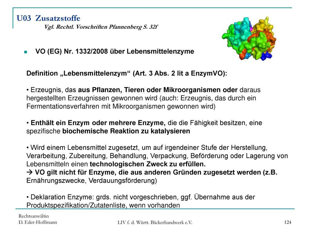 U03 Zusatzstoffe Vgl. Rechtl. Vorschriften Pfannenberg S. 32f