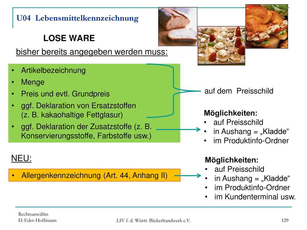 U04 Lebensmittelkennzeichnung LOSE WARE