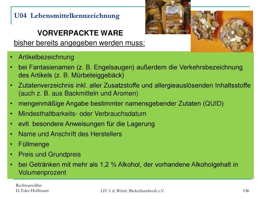 U04 Lebensmittelkennzeichnung VORVERPACKTE WARE