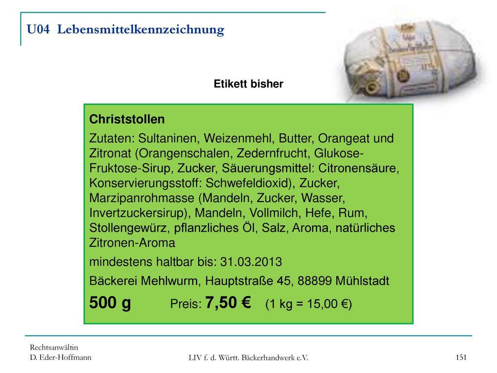 U04 Lebensmittelkennzeichnung