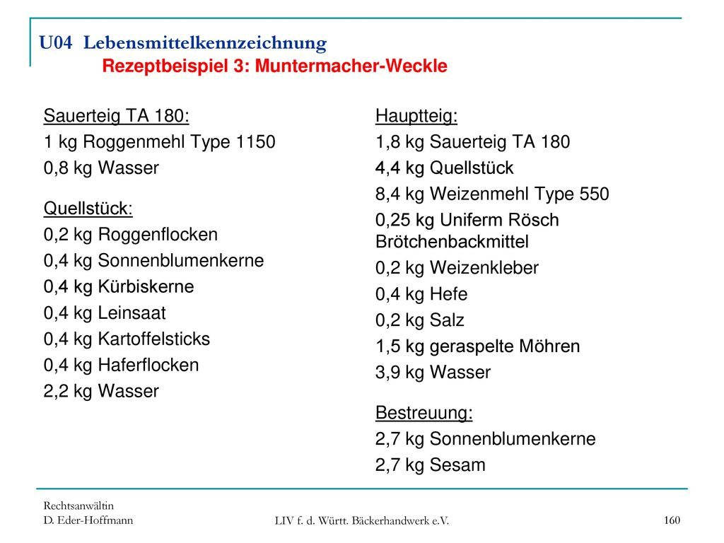 U04 Lebensmittelkennzeichnung Rezeptbeispiel 3: Muntermacher-Weckle