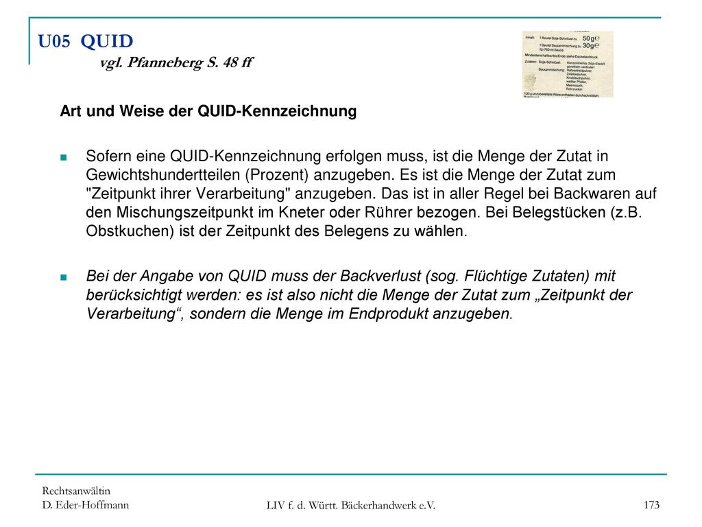 U05 QUID vgl. Pfanneberg S. 48 ff