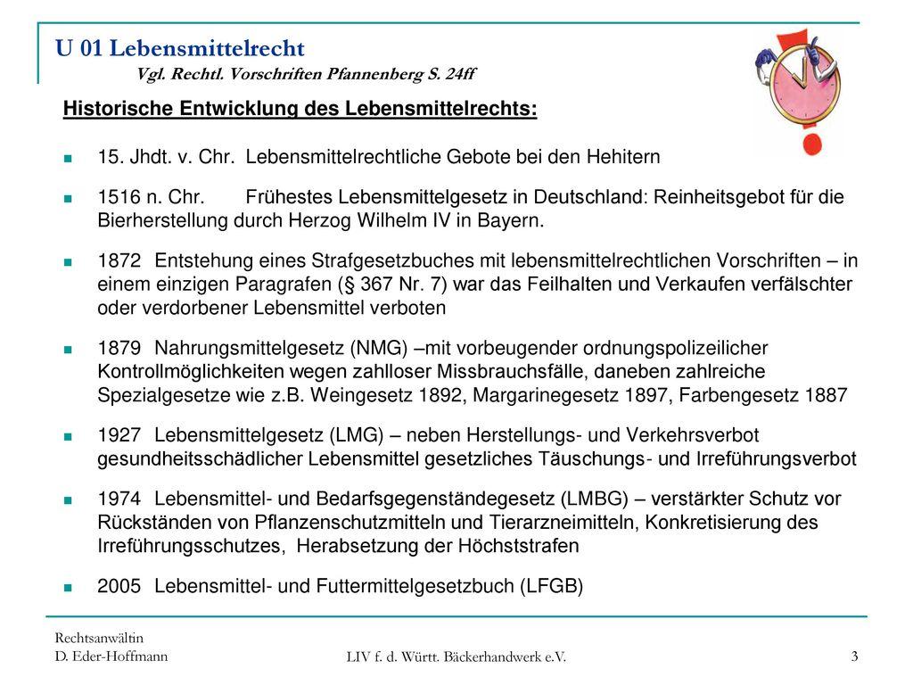 U 01 Lebensmittelrecht Vgl. Rechtl. Vorschriften Pfannenberg S. 24ff