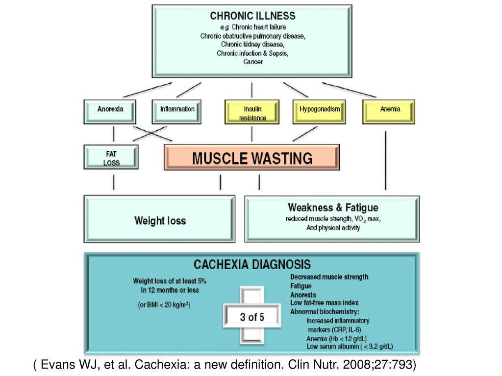 ( Evans WJ, et al. Cachexia: a new definition. Clin Nutr. 2008;27:793)