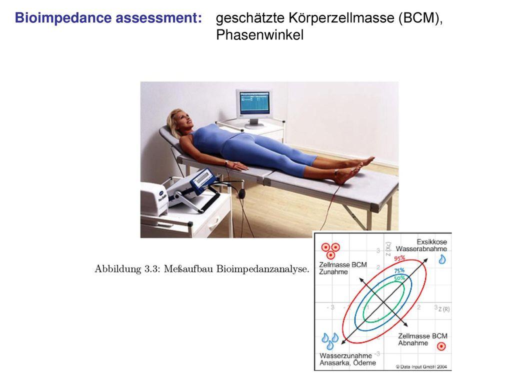 Bioimpedance assessment: geschätzte Körperzellmasse (BCM),