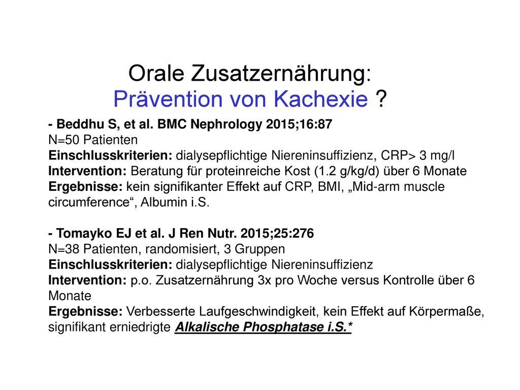 Orale Zusatzernährung: Prävention von Kachexie