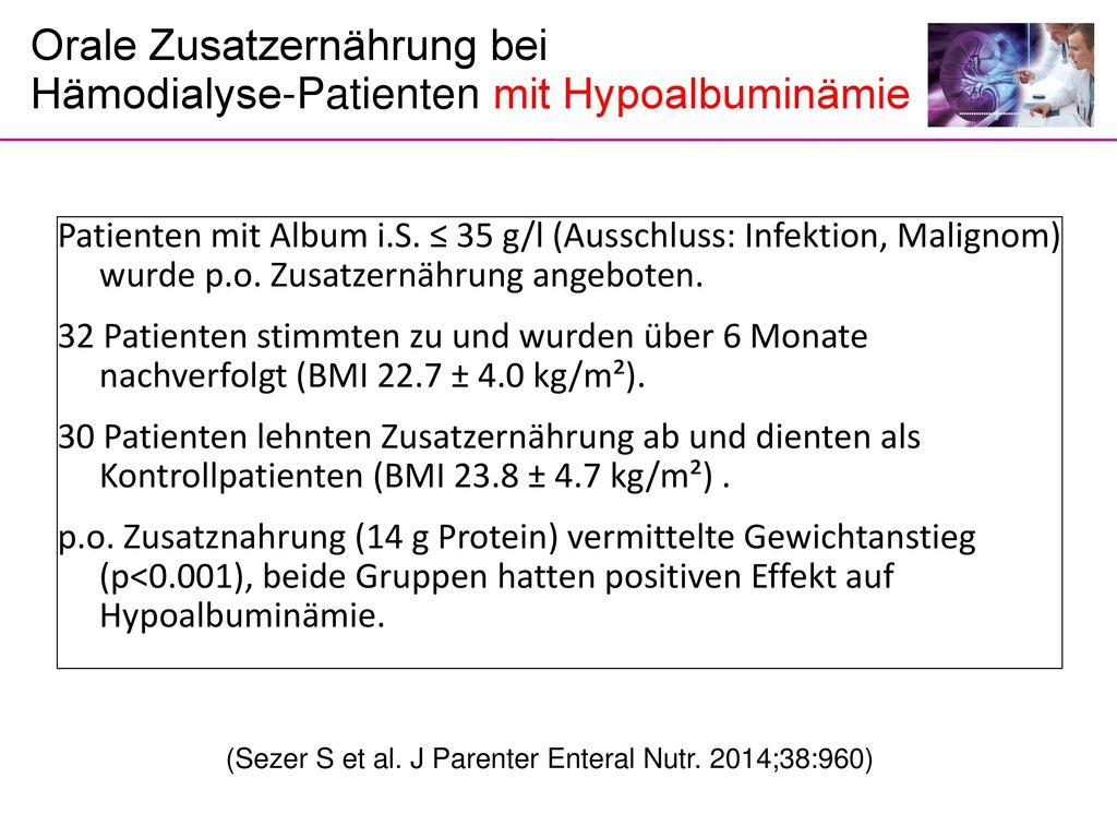 Orale Zusatzernährung bei Hämodialyse-Patienten mit Hypoalbuminämie