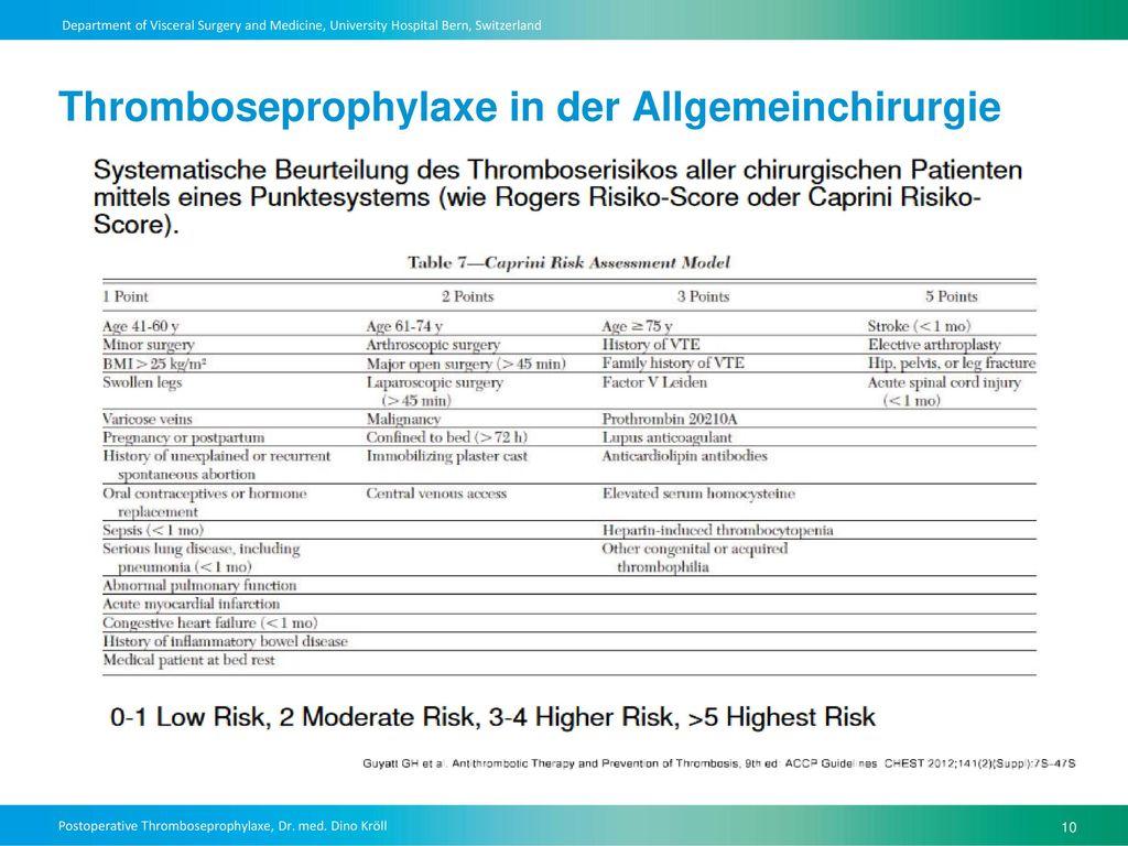 Thromboseprophylaxe in der Allgemeinchirurgie