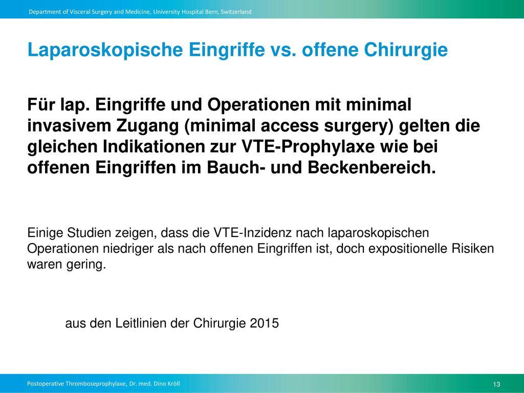 Laparoskopische Eingriffe vs. offene Chirurgie