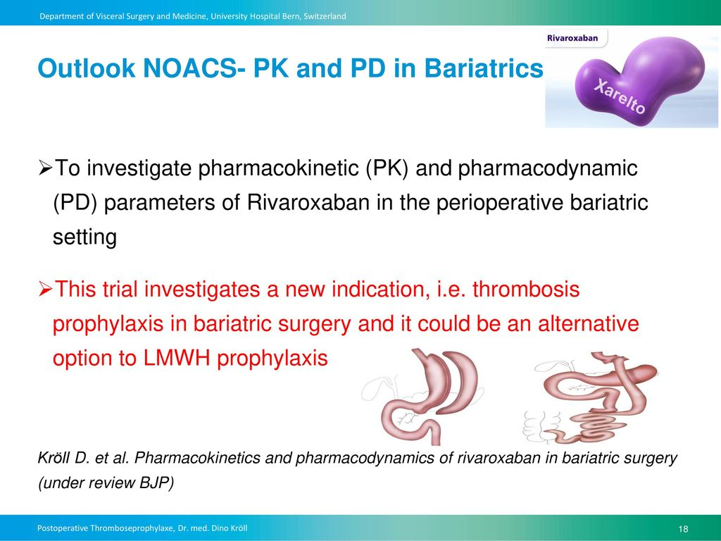 Outlook NOACS- PK and PD in Bariatrics