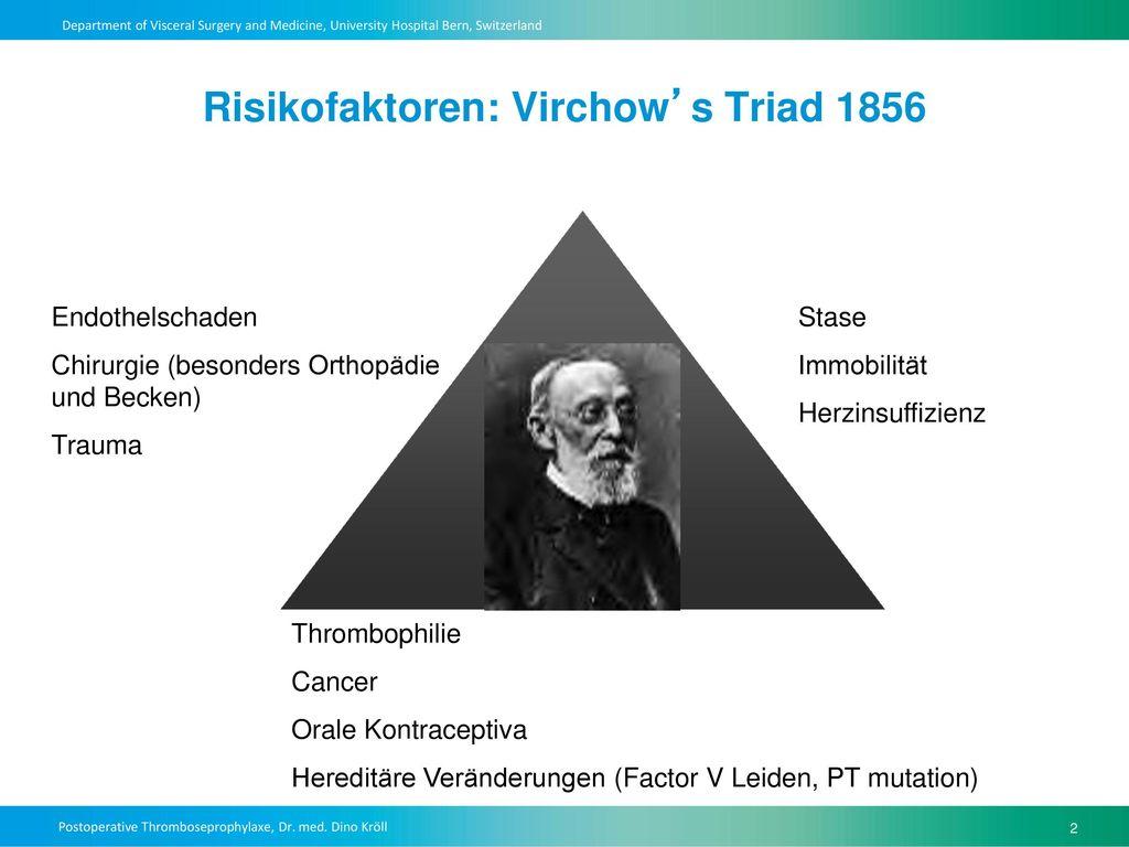 Risikofaktoren: Virchow's Triad 1856