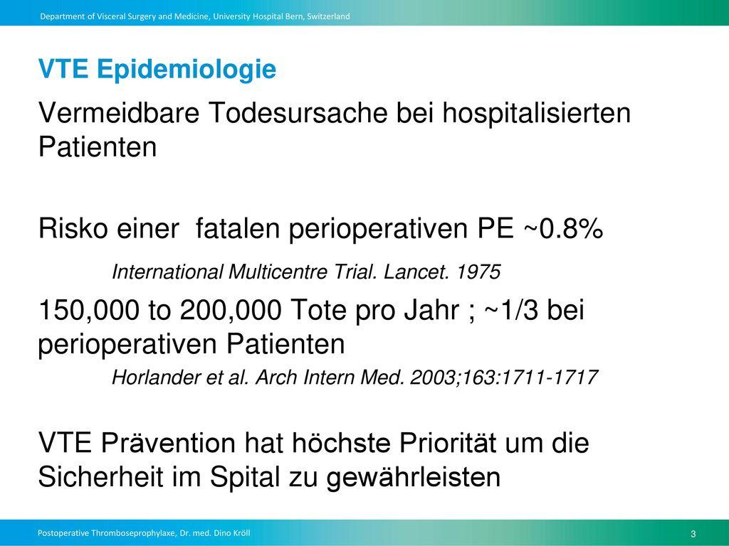 Vermeidbare Todesursache bei hospitalisierten Patienten