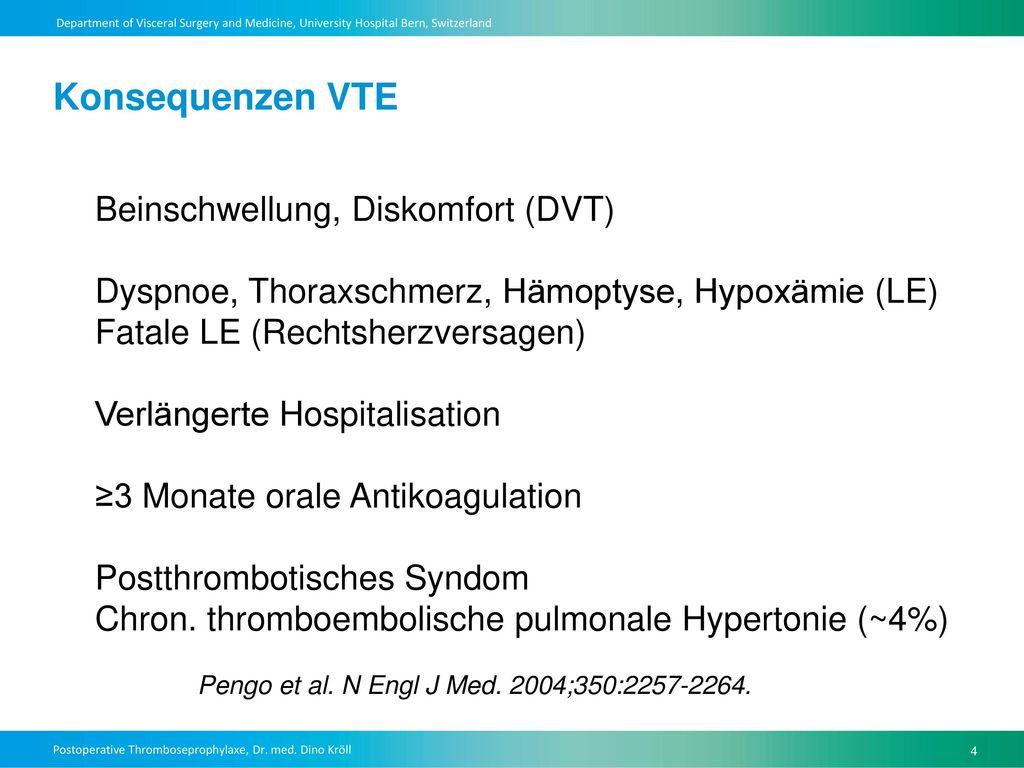 Konsequenzen VTE Beinschwellung, Diskomfort (DVT)