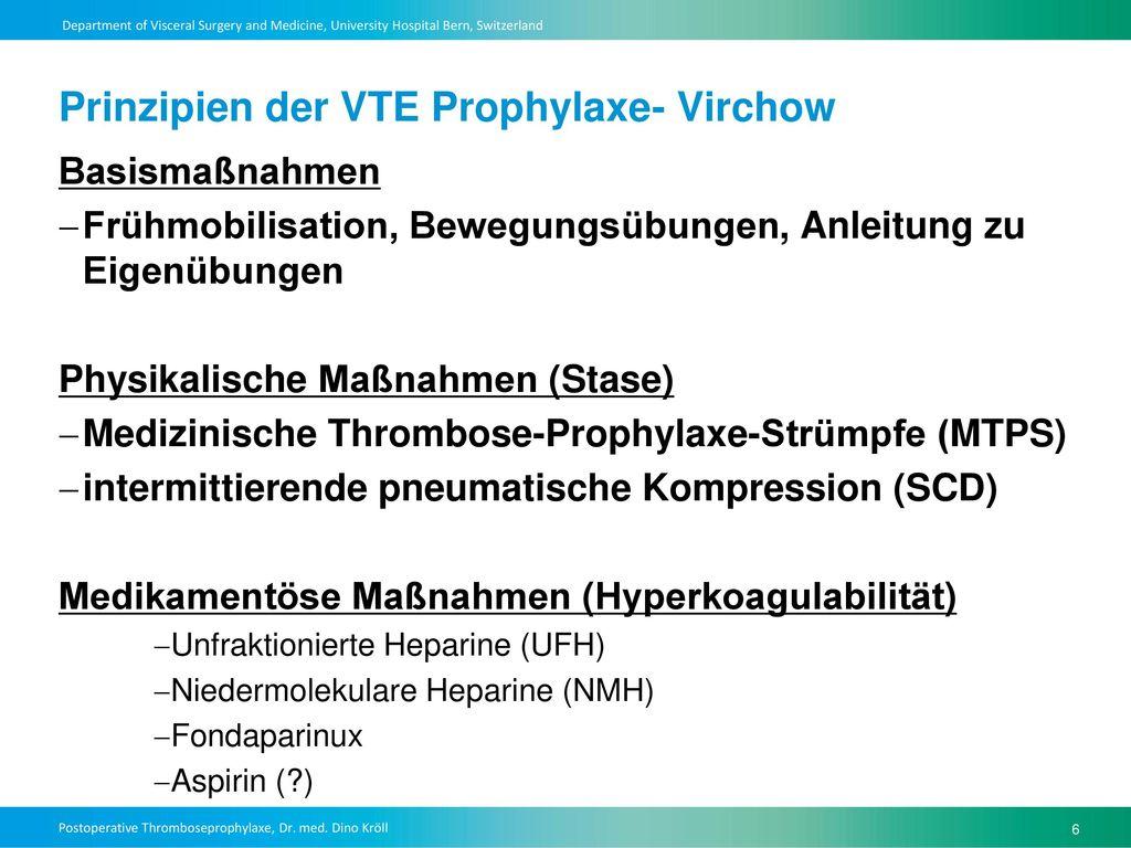 Prinzipien der VTE Prophylaxe- Virchow