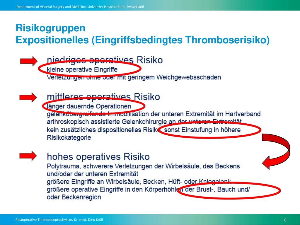 Risikogruppen Expositionelles (Eingriffsbedingtes Thromboserisiko)