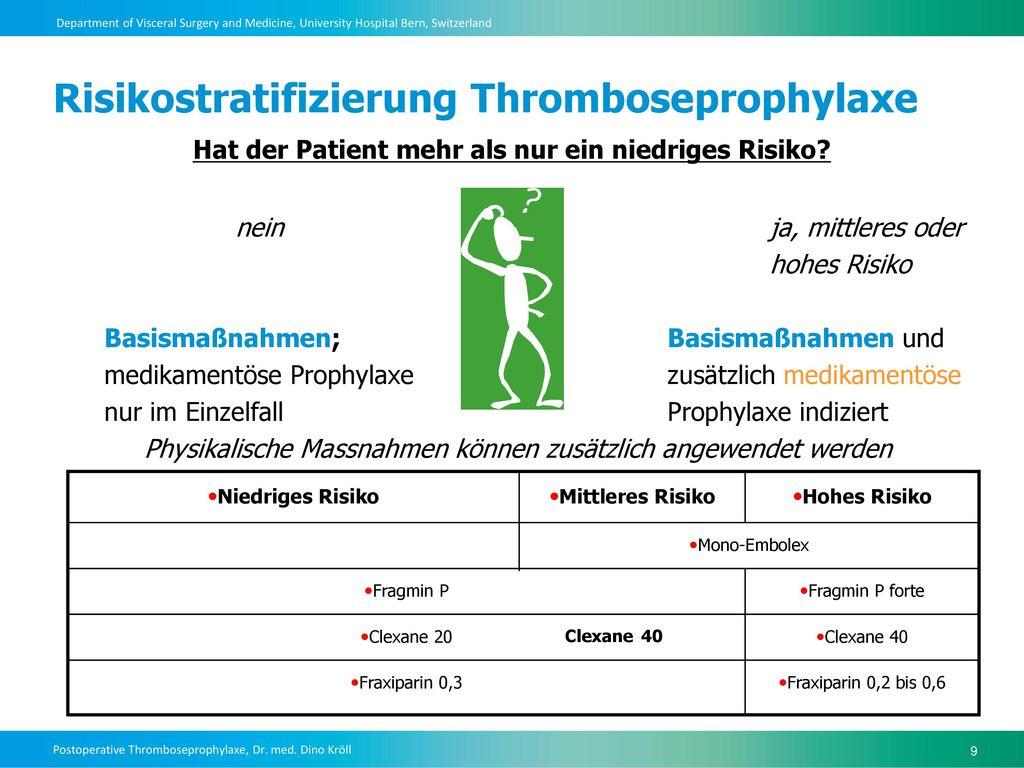 Risikostratifizierung Thromboseprophylaxe