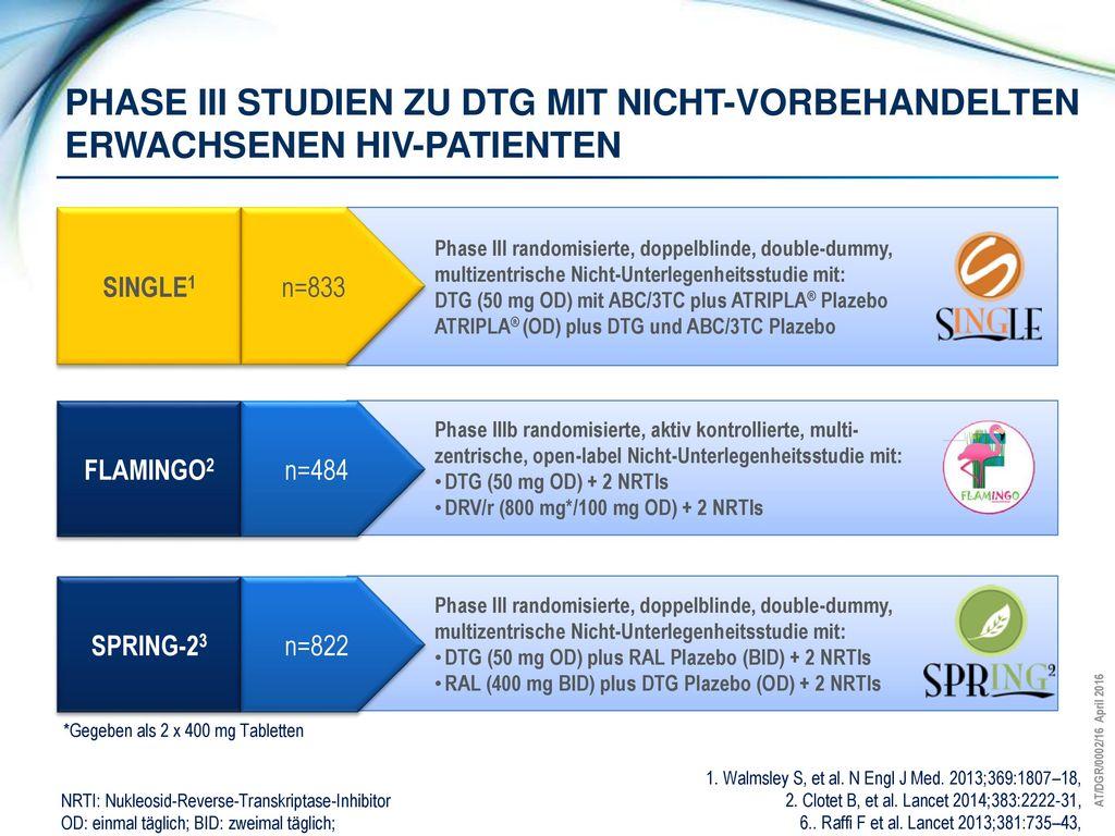 Phase iii STUDIEN ZU DTG MIT Nicht-vorbehandelten ERWACHSENEN HIV-PATIENTEN