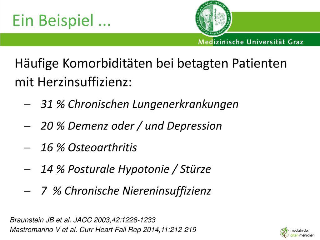 Ein Beispiel ... Häufige Komorbiditäten bei betagten Patienten mit Herzinsuffizienz: 31 % Chronischen Lungenerkrankungen.