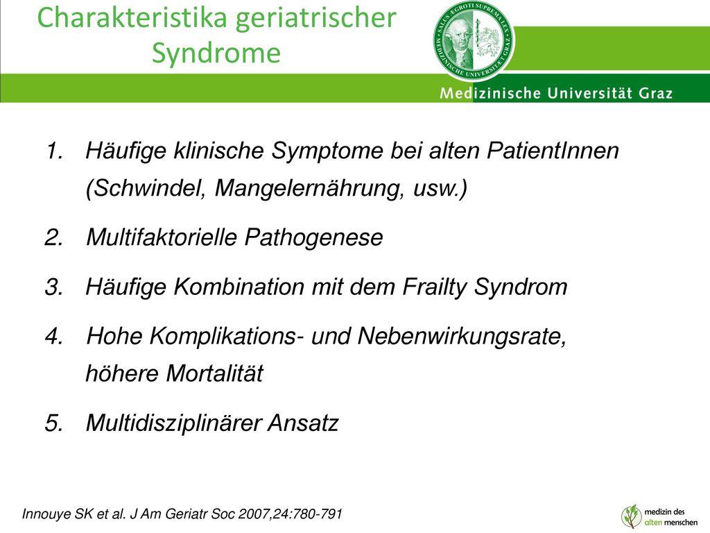 Charakteristika geriatrischer Syndrome