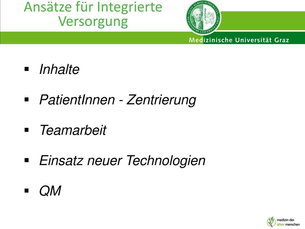 Ansätze für Integrierte Versorgung