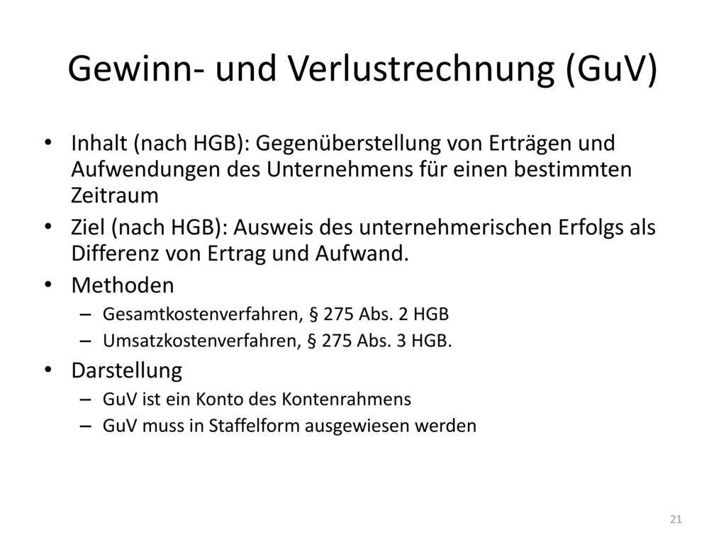 Gewinn- und Verlustrechnung (GuV)