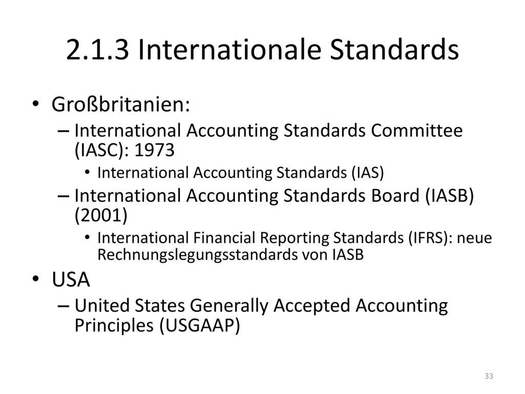 2.1.3 Internationale Standards