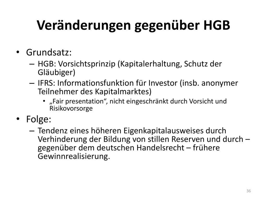 Veränderungen gegenüber HGB