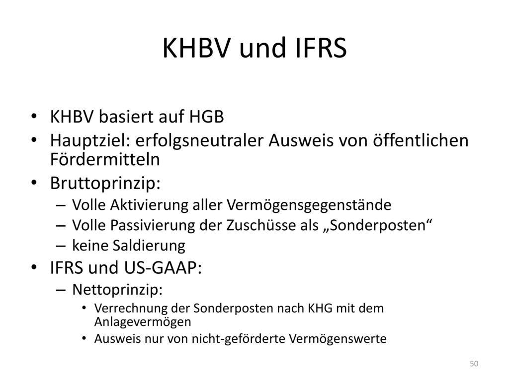 KHBV und IFRS KHBV basiert auf HGB