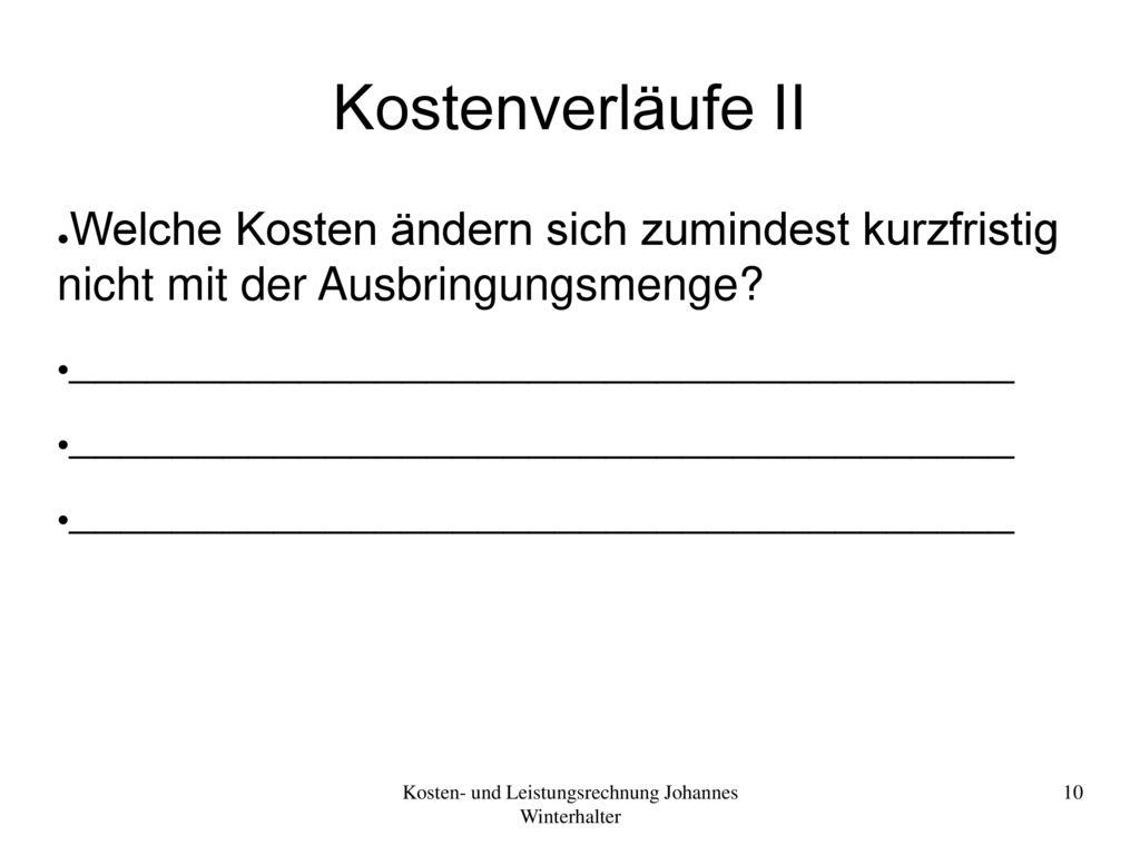 Kosten- und Leistungsrechnung Johannes Winterhalter