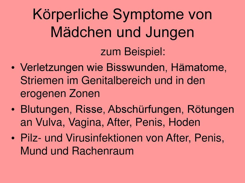 Körperliche Symptome von Mädchen und Jungen