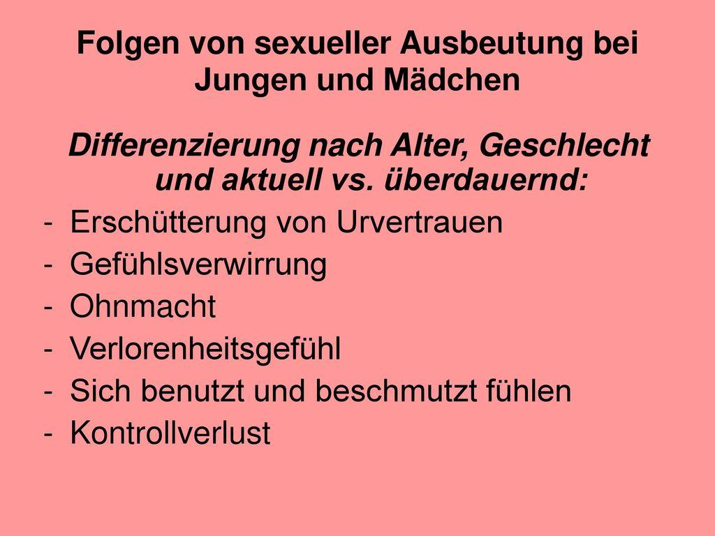 Folgen von sexueller Ausbeutung bei Jungen und Mädchen