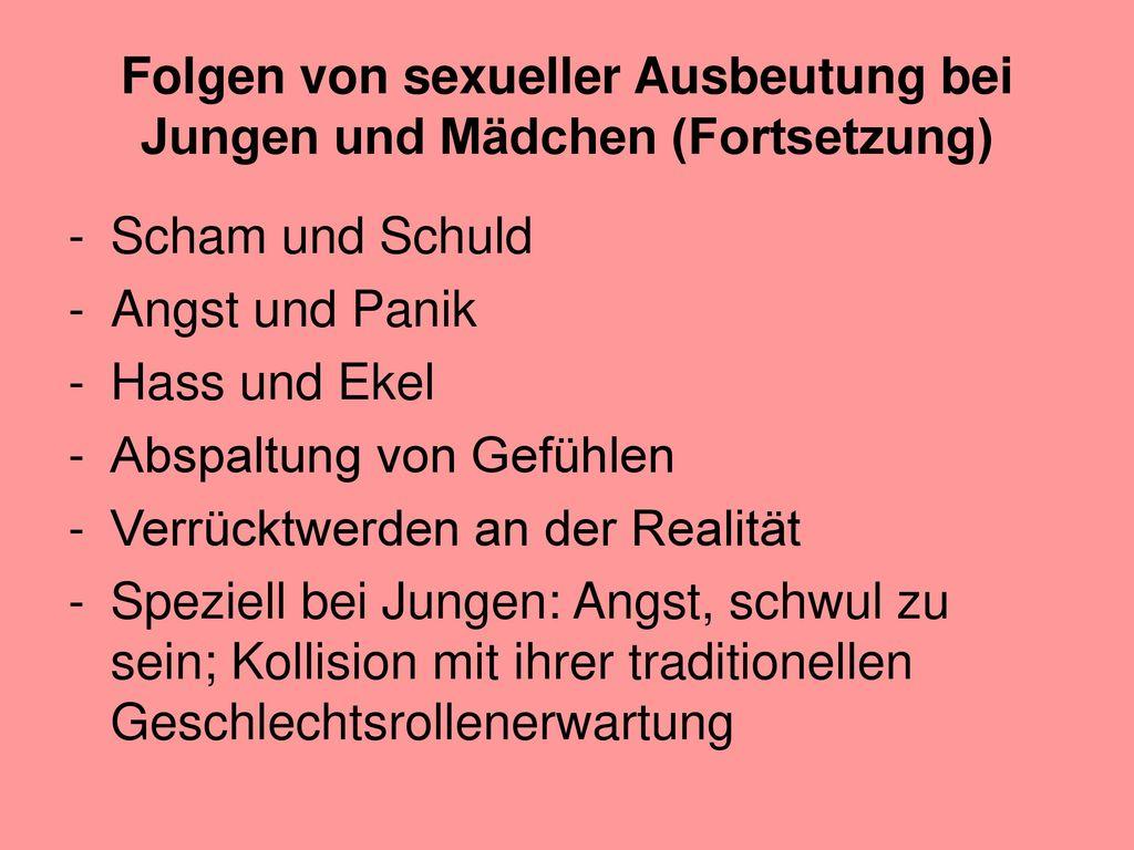 Folgen von sexueller Ausbeutung bei Jungen und Mädchen (Fortsetzung)