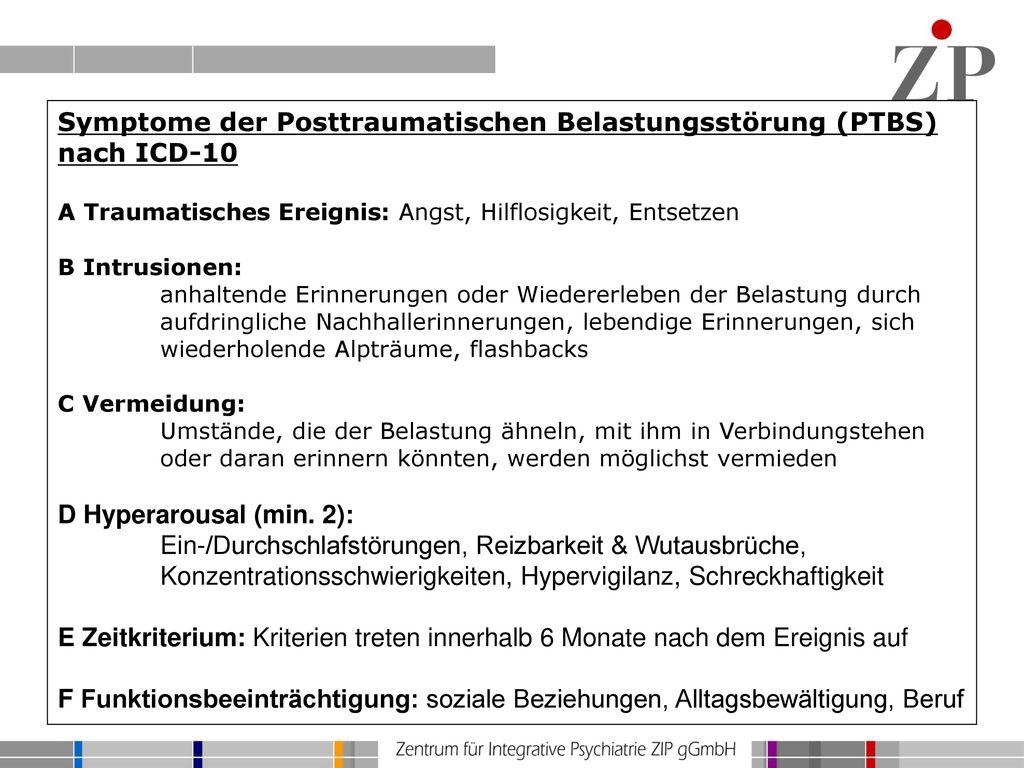 Symptome der Posttraumatischen Belastungsstörung (PTBS) nach ICD-10
