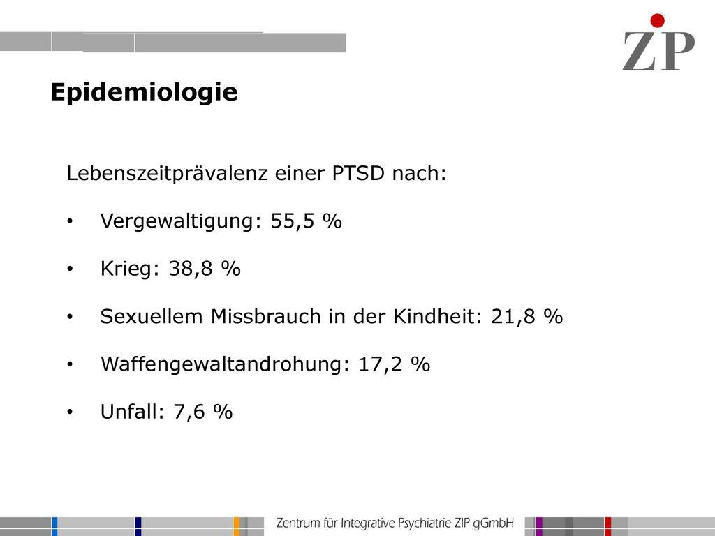Epidemiologie Lebenszeitprävalenz einer PTSD nach: