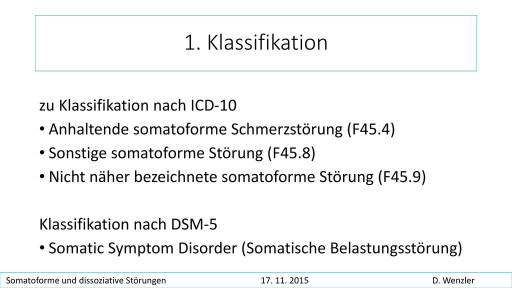 1. Klassifikation zu Klassifikation nach ICD-10