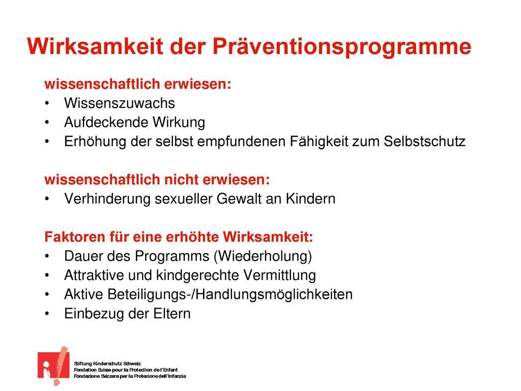 Wirksamkeit der Präventionsprogramme