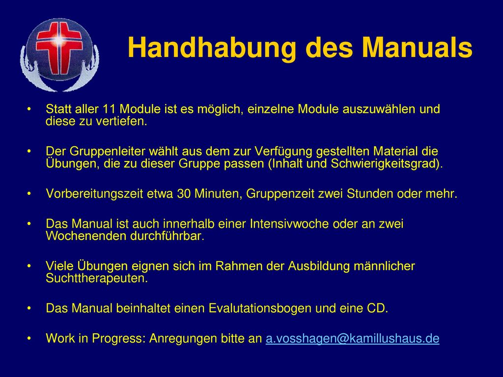 Handhabung des Manuals