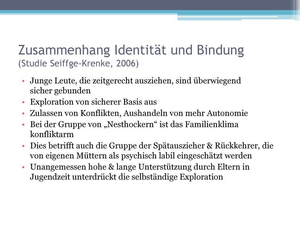 Zusammenhang Identität und Bindung (Studie Seiffge-Krenke, 2006)