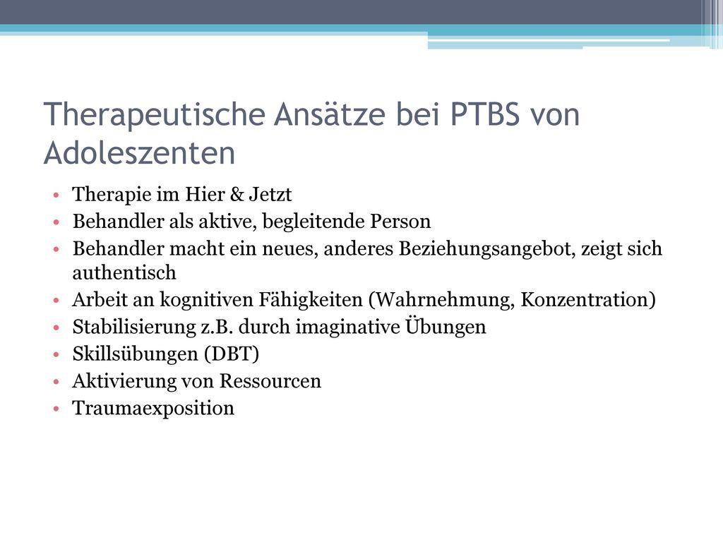 Therapeutische Ansätze bei PTBS von Adoleszenten