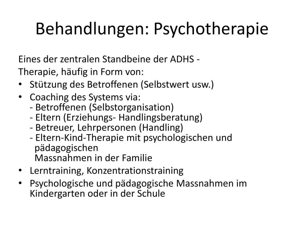 Behandlungen: Psychotherapie