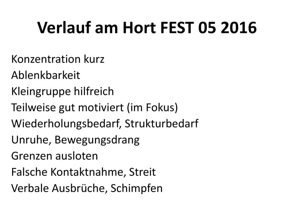 Verlauf am Hort FEST 05 2016