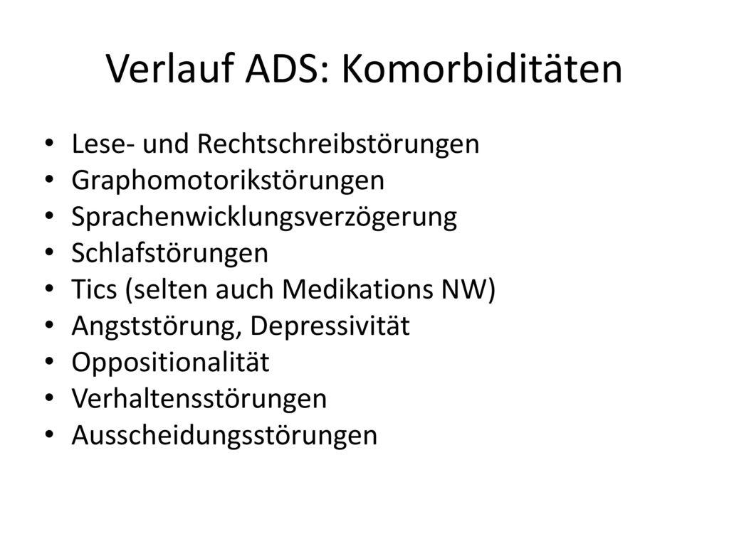 Verlauf ADS: Komorbiditäten