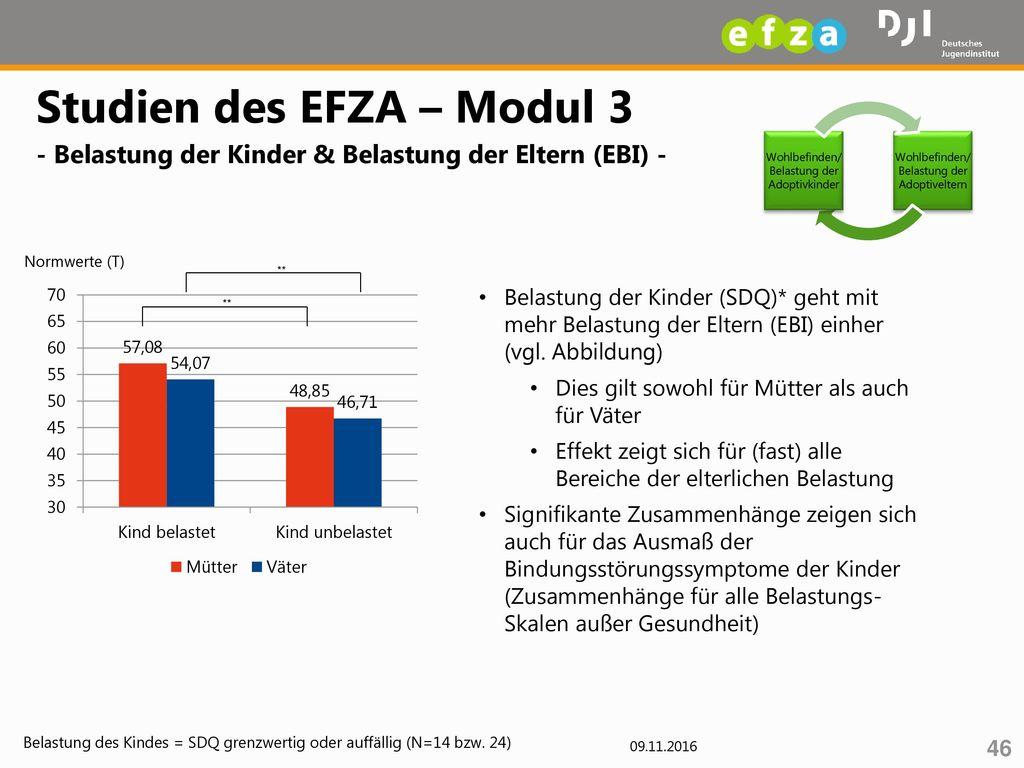 Studien des EFZA – Modul 3 - Belastung der Kinder & Belastung der Eltern (EBI) -