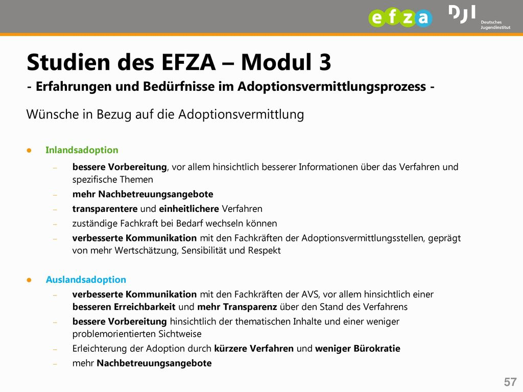 Studien des EFZA – Modul 3 - Erfahrungen und Bedürfnisse im Adoptionsvermittlungsprozess -