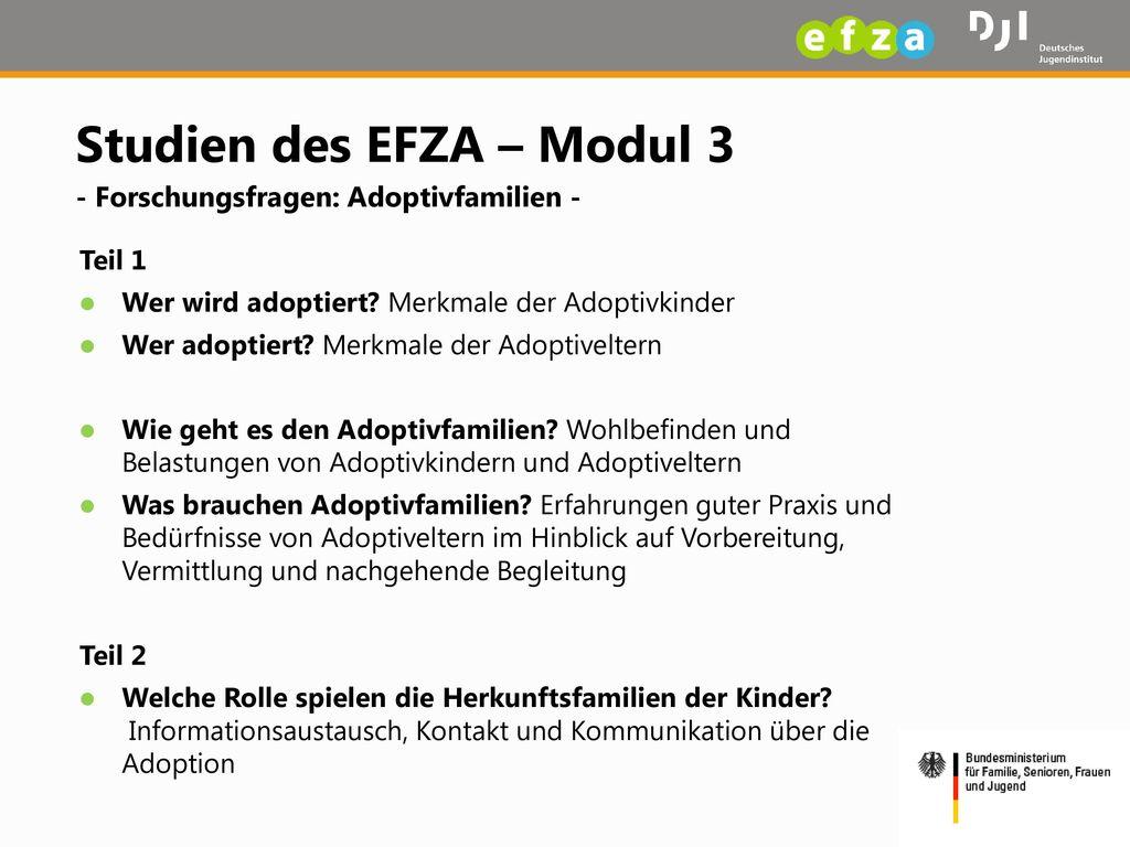 Studien des EFZA – Modul 3 - Forschungsfragen: Adoptivfamilien -