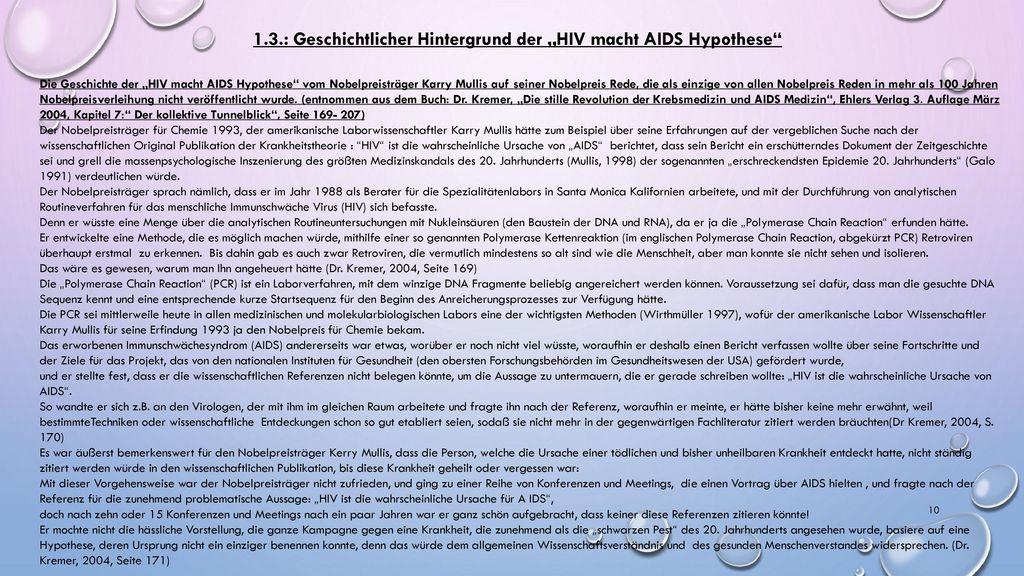 """1.3.: Geschichtlicher Hintergrund der """"HIV macht AIDS Hypothese"""